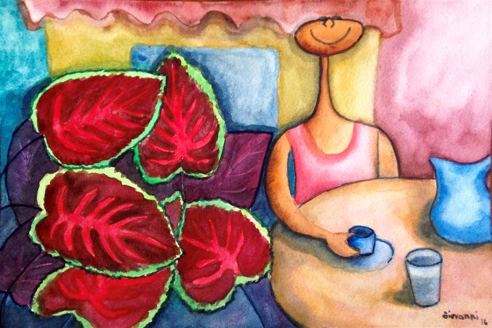 """Coffee time at the garden"" original fine art by Giovanni Antunez"