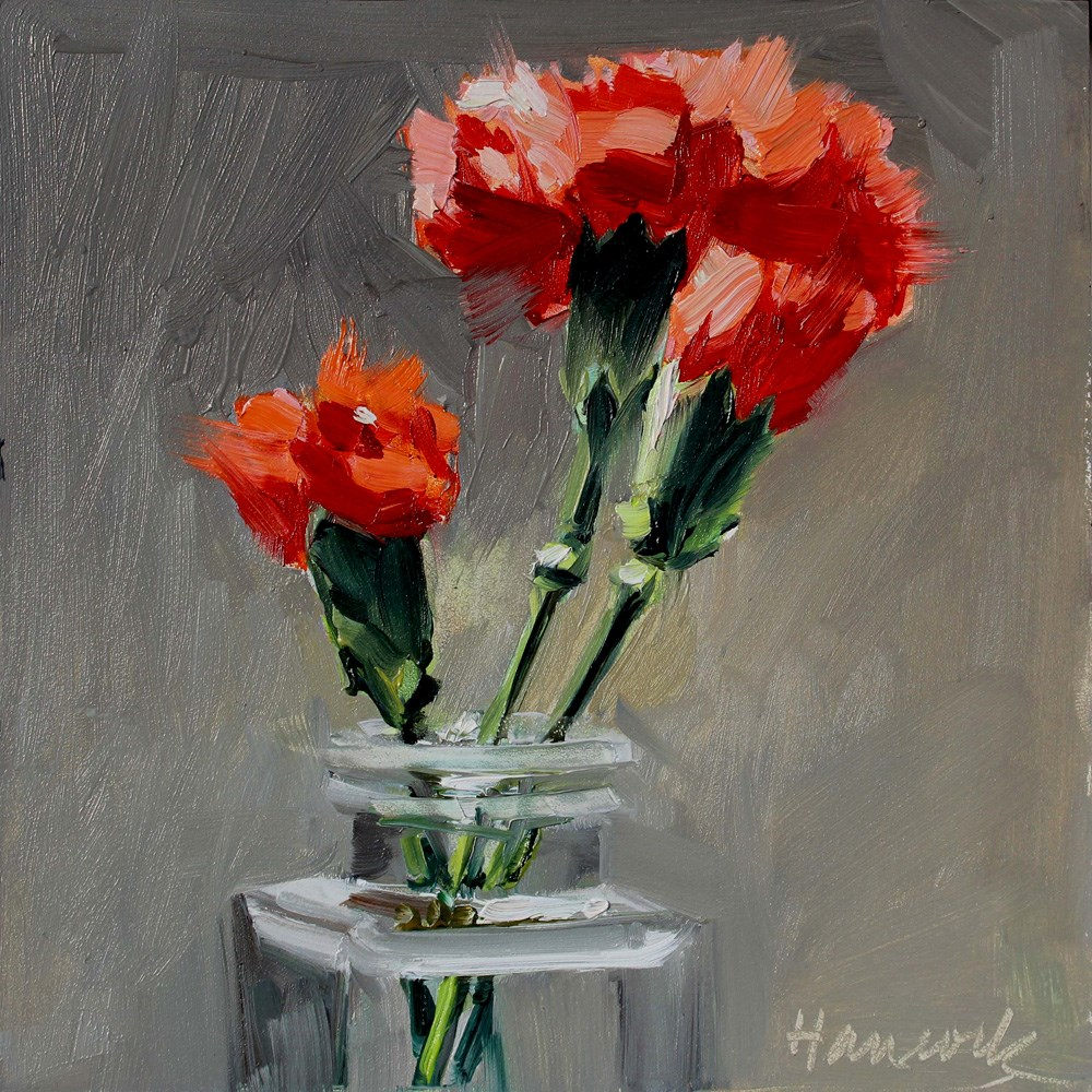 """Three Carnations Square GLass Jar on Gray"" original fine art by Gretchen Hancock"
