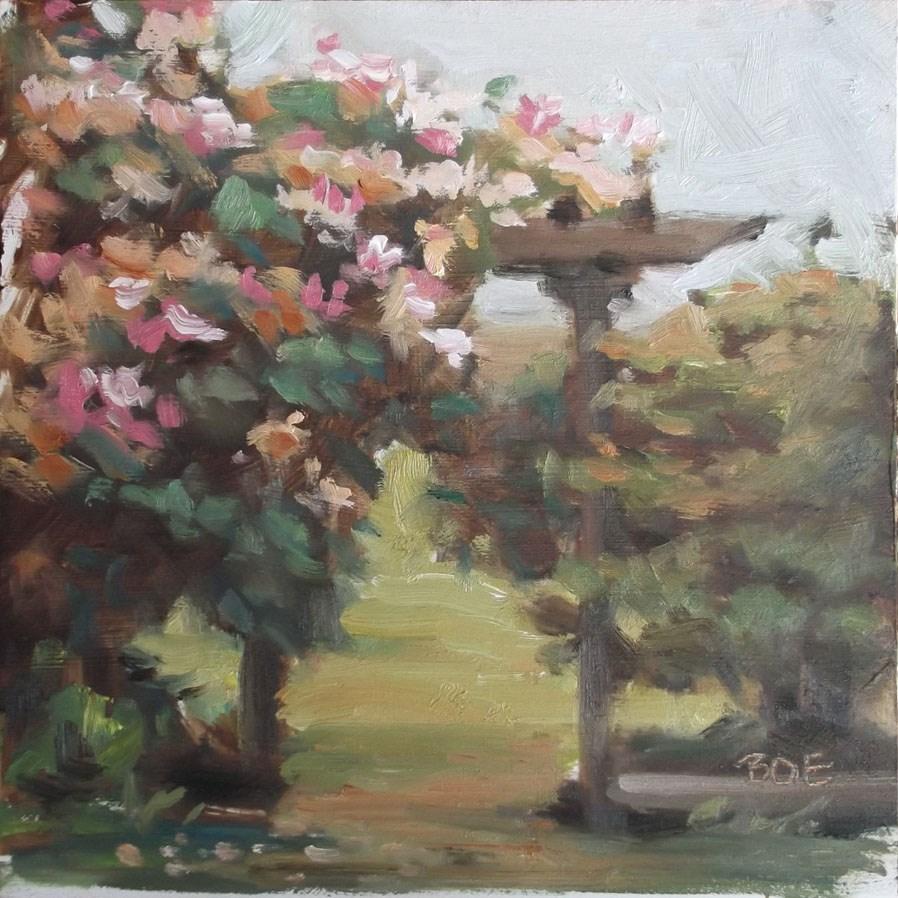 """Honeysuckle Arbor"" original fine art by Karen Boe"
