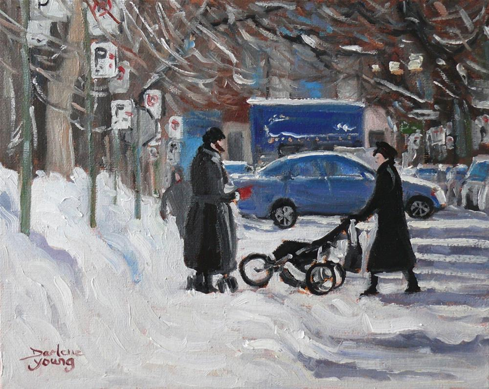 """922 Montreal Winter Scene, Outremont, oil on board, 8x10"" original fine art by Darlene Young"