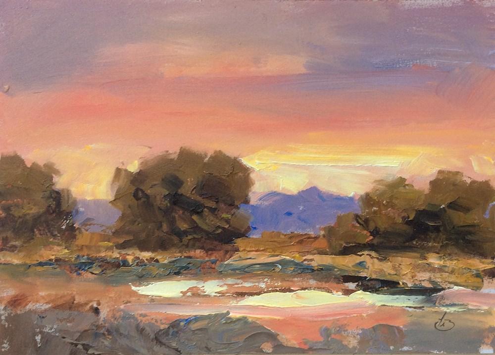 """DAZZLING SUNSET"" original fine art by Tom Brown"