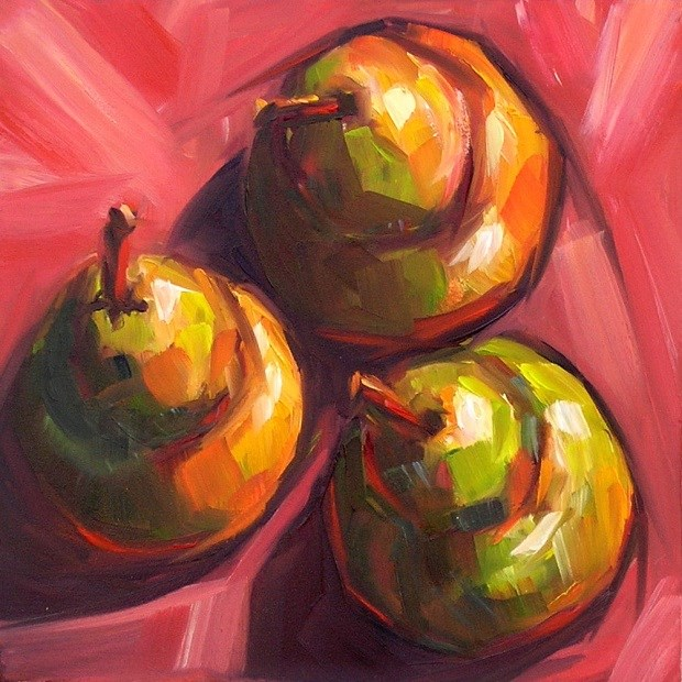 """Trio: pears"" original fine art by Irina Beskina"