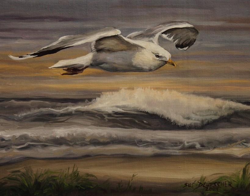 """""""Seagull"""" original fine art by Sue Deutscher"""