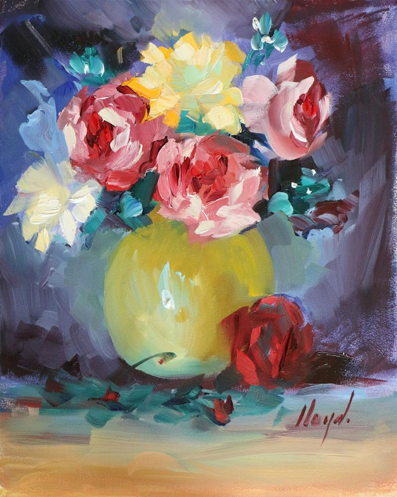 """Roses In Yellow Vase"" original fine art by Diane Lloyd"