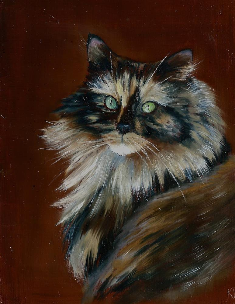 """Tortoiseshell cat"" original fine art by Karen Robinson"