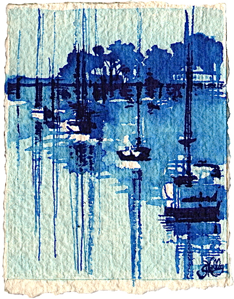 Sailboats on Five Mile River - Rowayton Daily Paintings by Gretchen Kelly original fine art by Gretchen Kelly