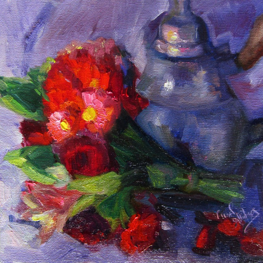 """Posey and Kettle, Periwinkle Silk"" original fine art by Carol Steinberg"