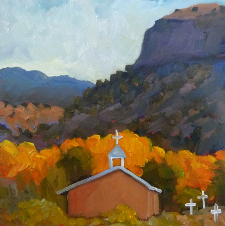 """36 LITTLE CHURCH AT BLACK MESA"" original fine art by Dee Sanchez"