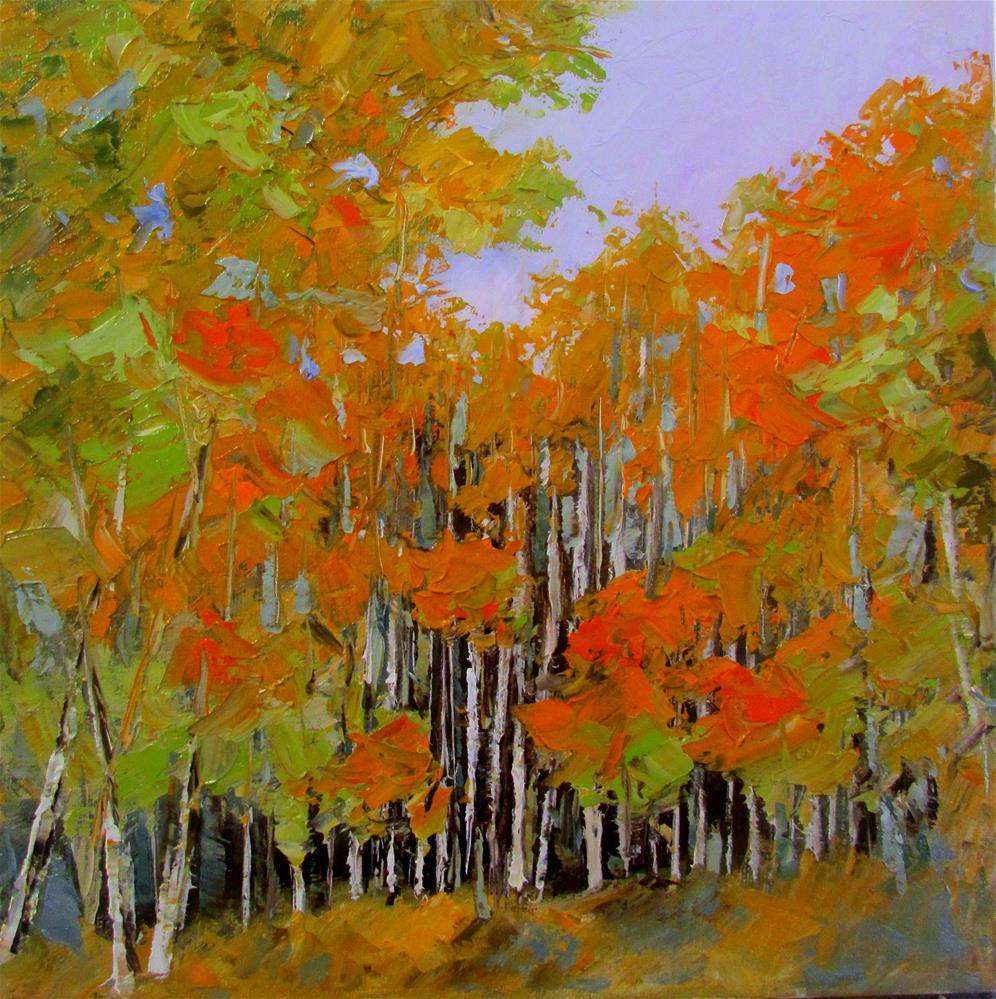 """12 x 12 inch oil Chunky Trees #3"" original fine art by Linda Yurgensen"