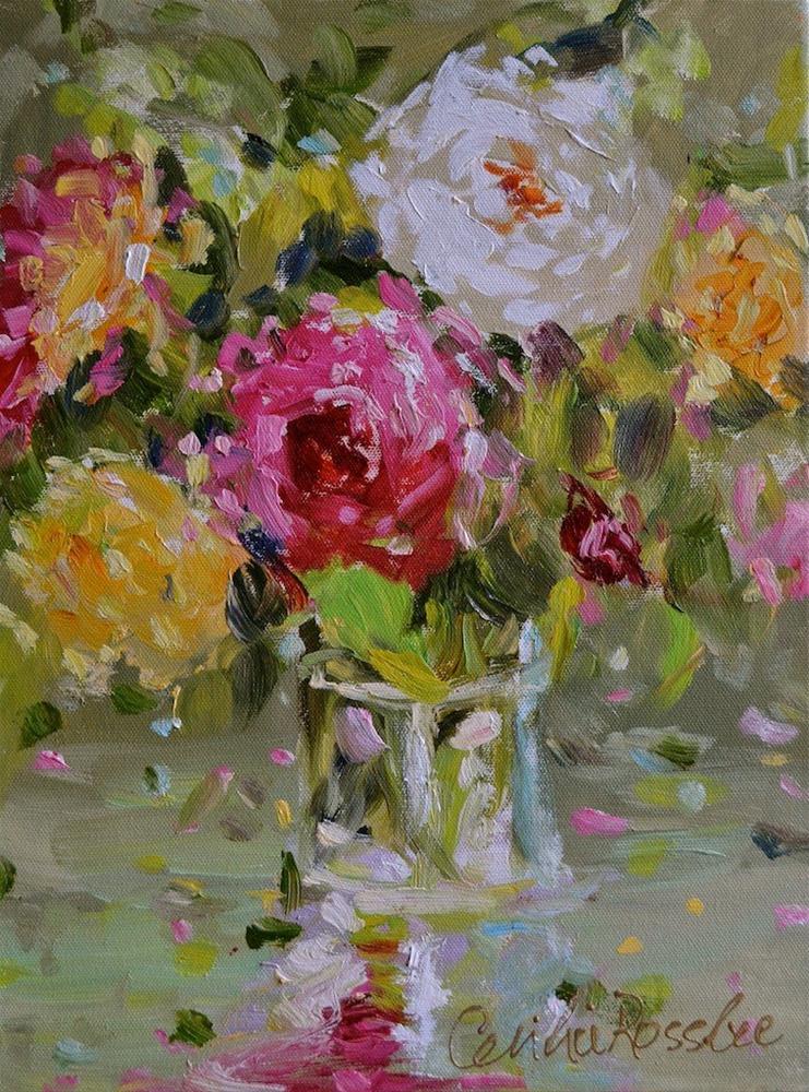 """Vintage Roses"" original fine art by Cecilia Rosslee"