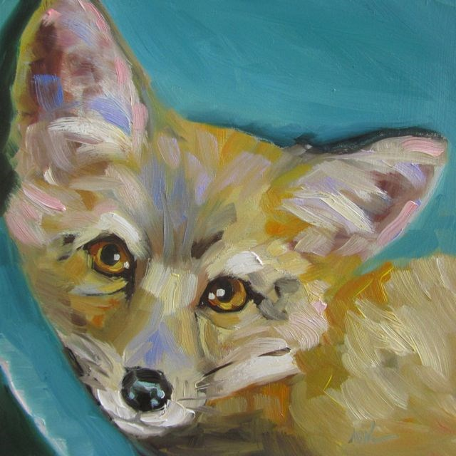 """RED FOX KIT"" original fine art by Mb Warner"