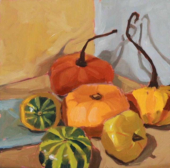 """Shadowy Gourds"" original fine art by Nealy May Riley"