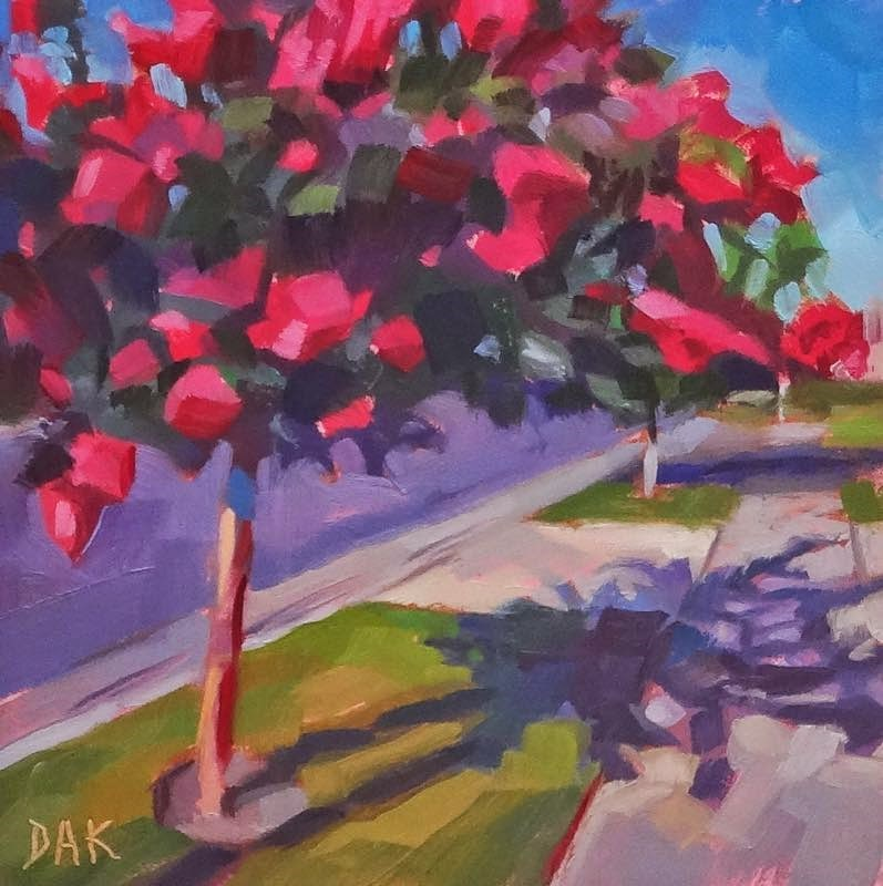 """The Flower Tree"" original fine art by Deborah Ann Kirkeeide"