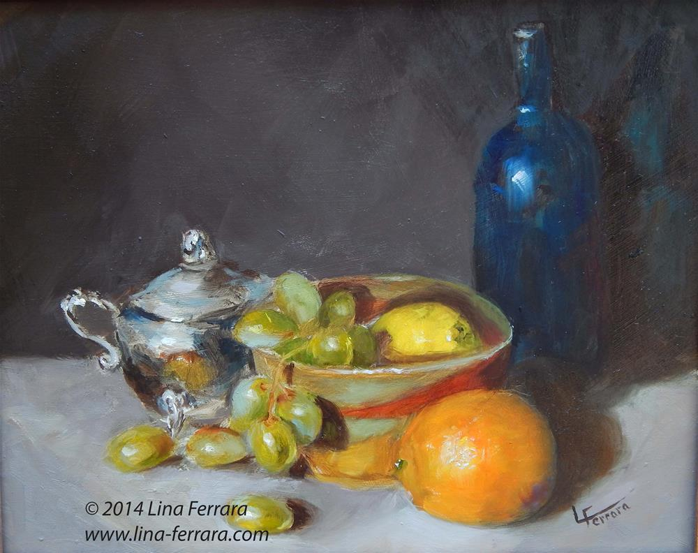 """Silver Creamer and Fruit"" original fine art by Lina Ferrara"