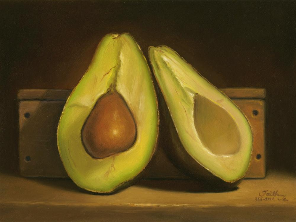 """Avocado Halves"" original fine art by Faith Te"