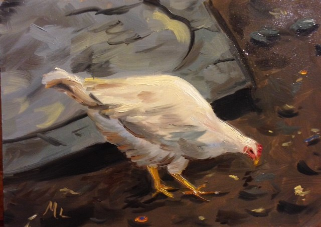 """Why did the Chicken Cross the Road"" original fine art by Marjie Laizure"