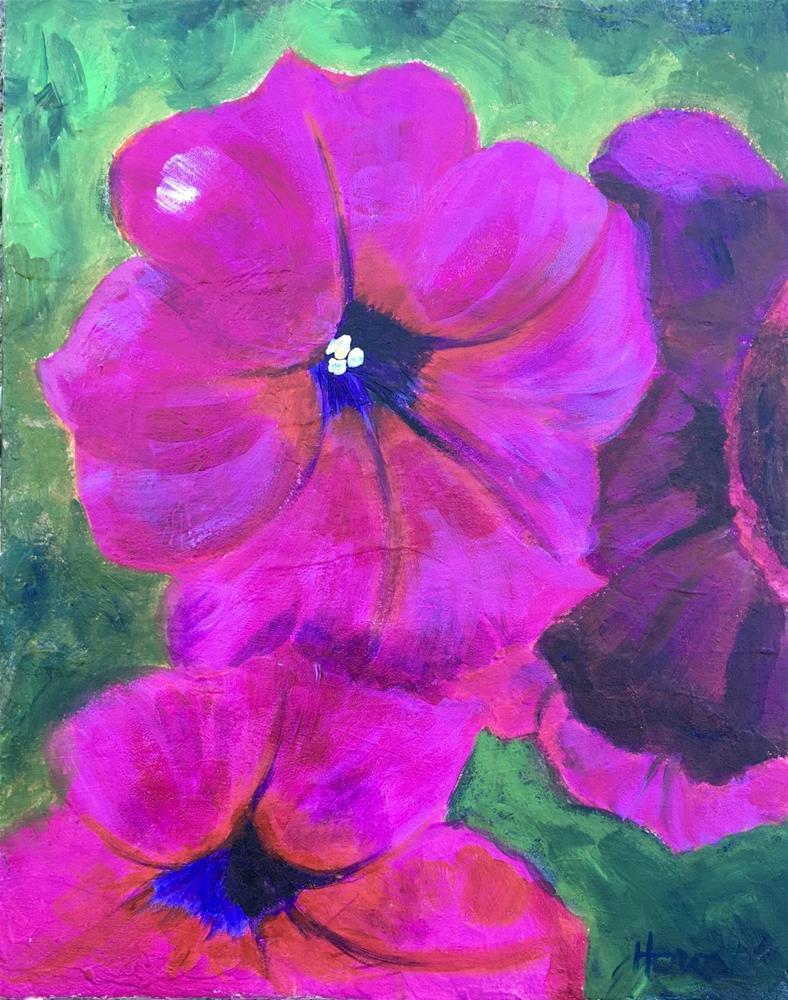 """Wave Petunias, Daily Painting"" original fine art by Marcia Hero"