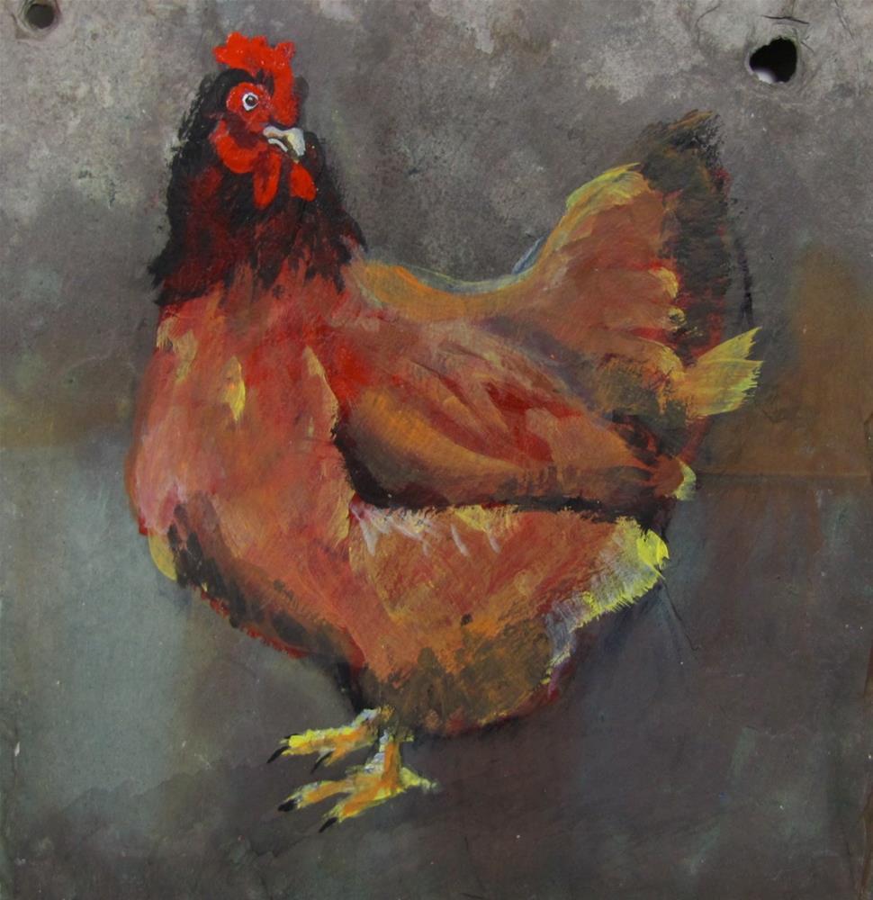 """Day 29 Slate - Chicken"" original fine art by Christine Holzschuh"