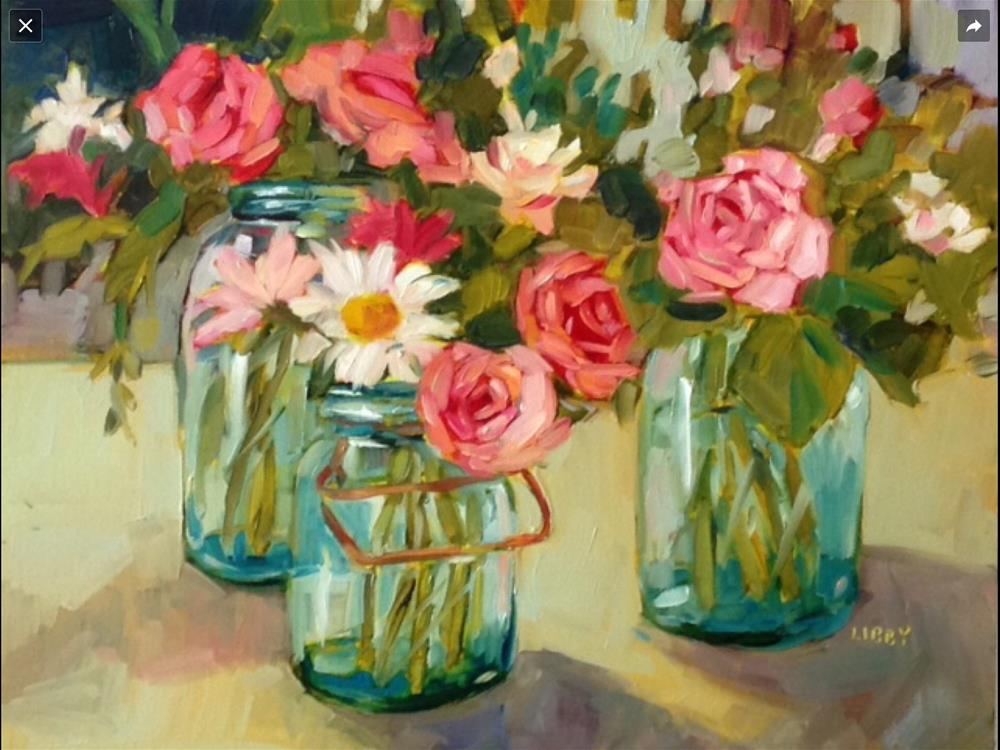"""Roses and Daisies"" original fine art by Libby Anderson"