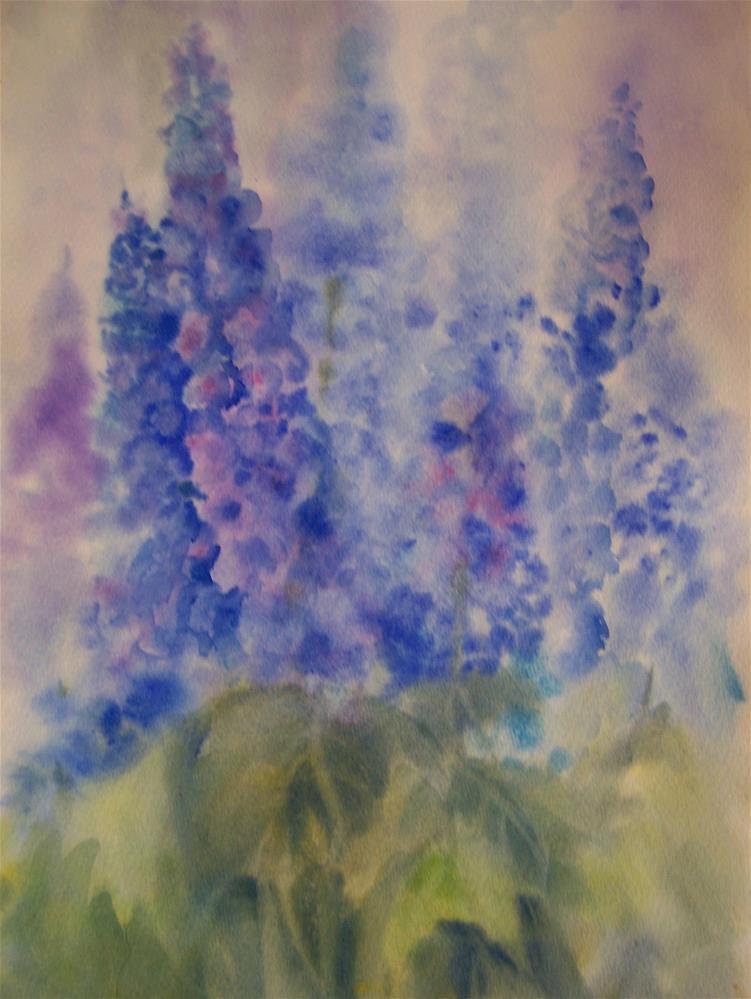 """""""Delphiniums"""" original fine art by Joan Reive"""
