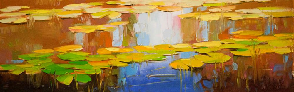 """Waterlilies Original oil painting"" original fine art by V Y"