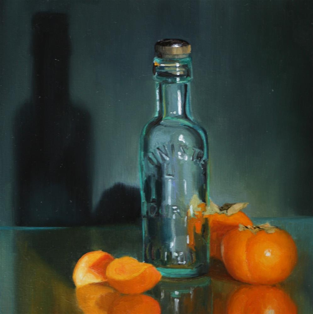 """Persimmons with Bottle"" original fine art by Liz Balkwill"