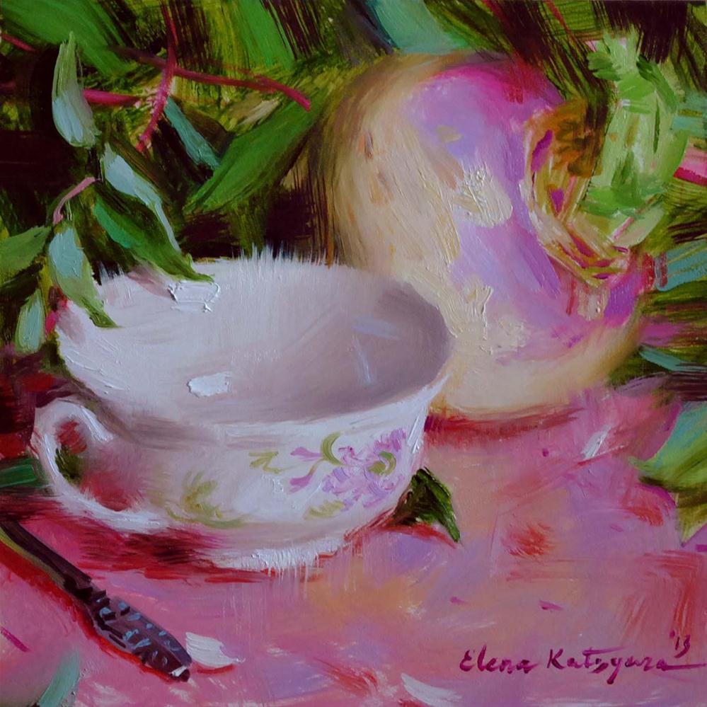 """Teacup and Turnip"" original fine art by Elena Katsyura"