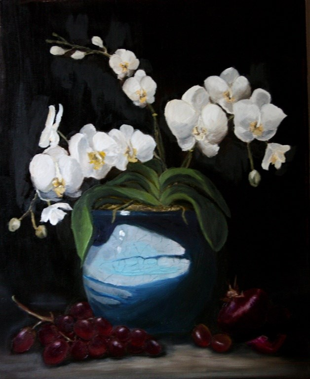 """Orchids in Blue Pot"" original fine art by Mary Datum"