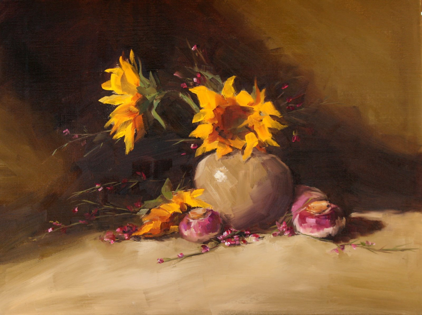 """Sunflowers and Turnips"" original fine art by Carol Carmichael"