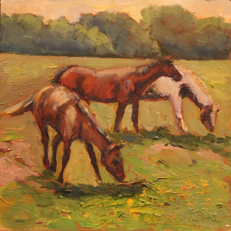 """Sunset Pasture, Day 15"" original fine art by Claudia L Brookes"