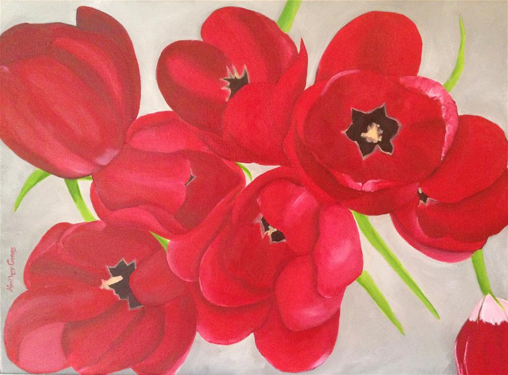 """Red Tulips I"" original fine art by J H Graves"