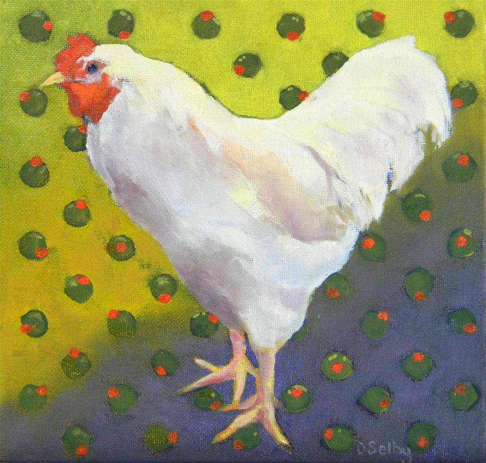 """""""Chicken with Olives"""" original fine art by De Selby"""