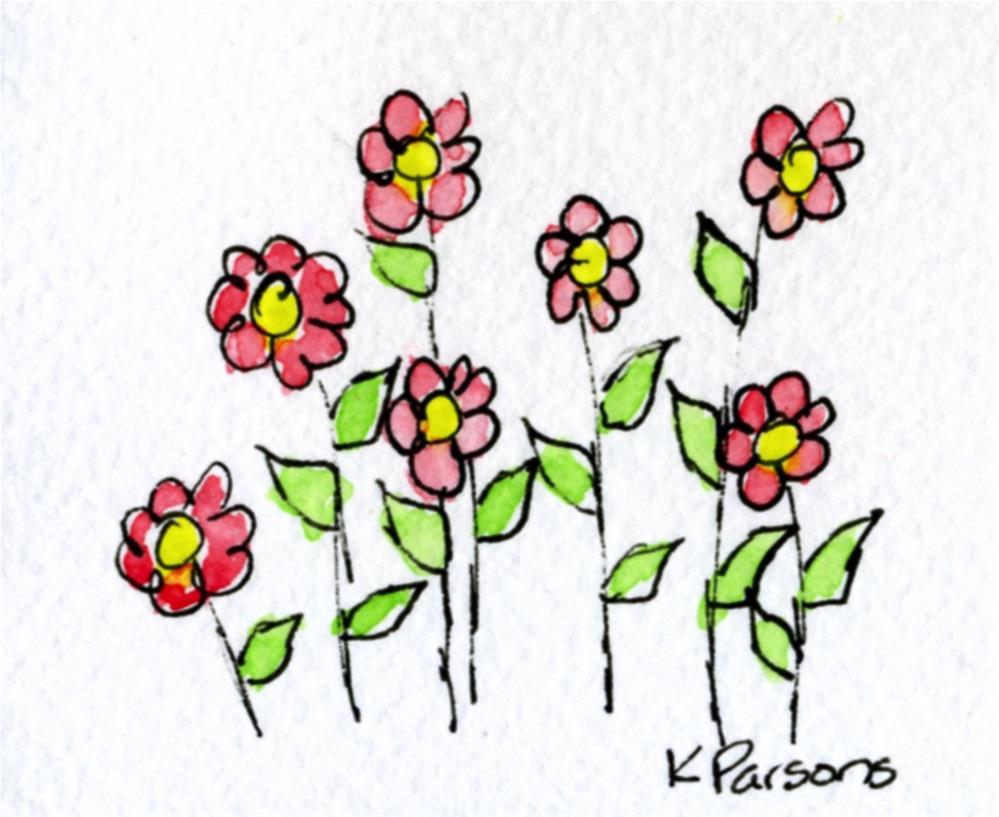 """Seven Red Flowers"" original fine art by Kali Parsons"