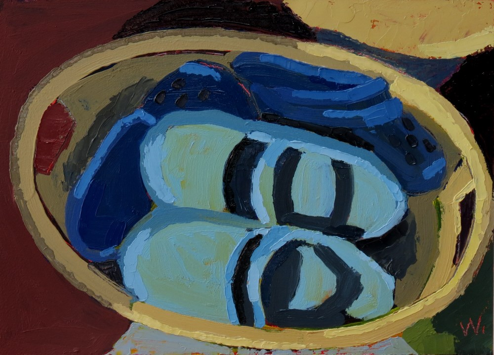 """Shoe Basket"" original fine art by Joan Wiberg"