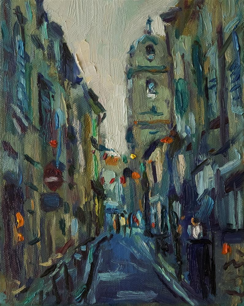 """Street in Arles with Church"" original fine art by Andre Pallat"