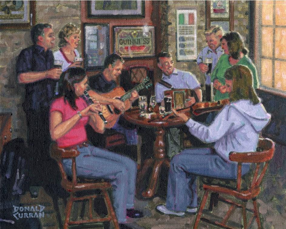 """Fun at the Pub"" original fine art by Donald Curran"