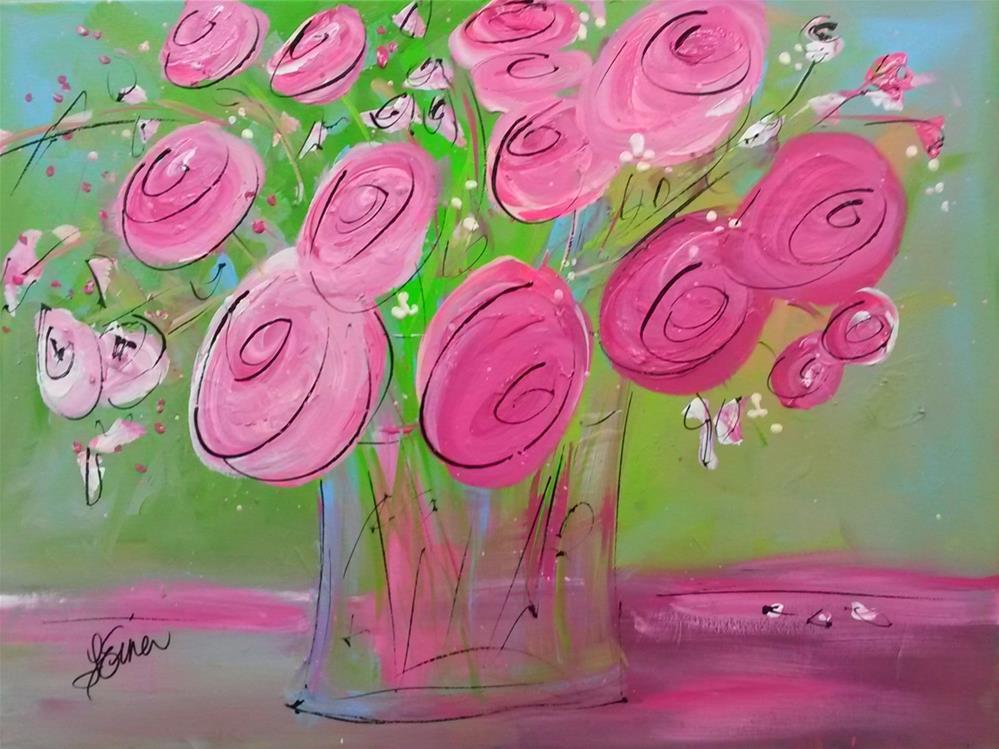 """""""Pink Posies"""" original fine art by Terri Einer"""