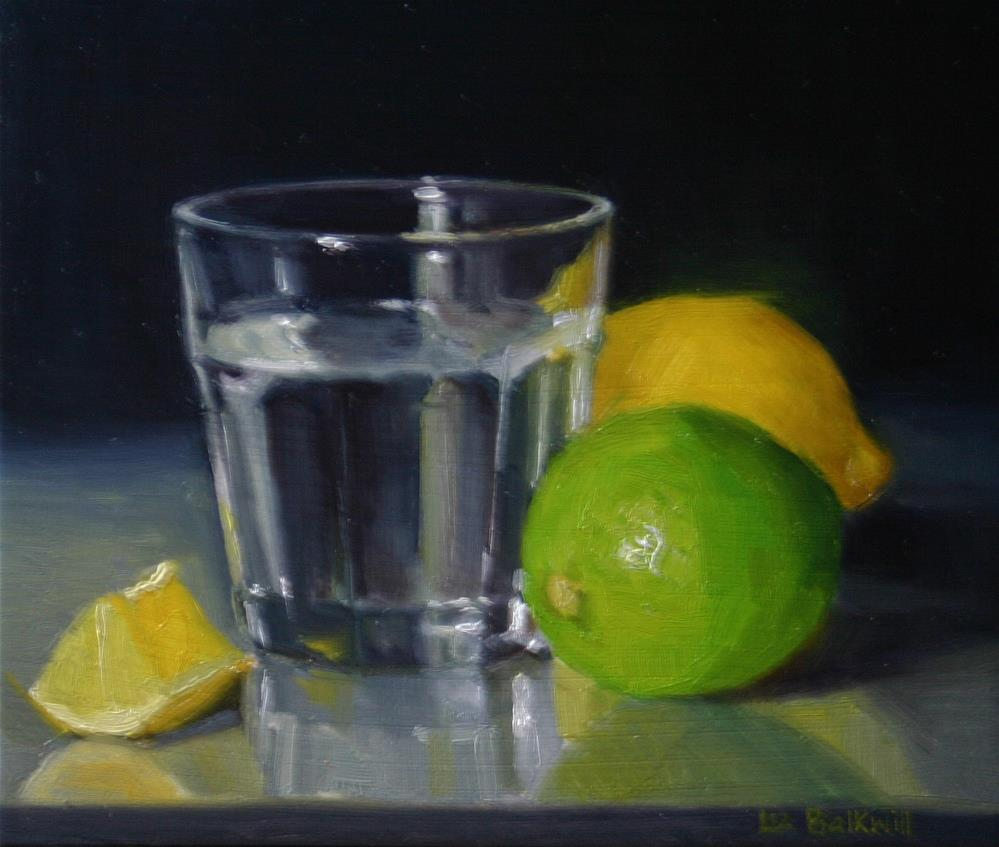 """Citrus and water glass"" original fine art by Liz Balkwill"