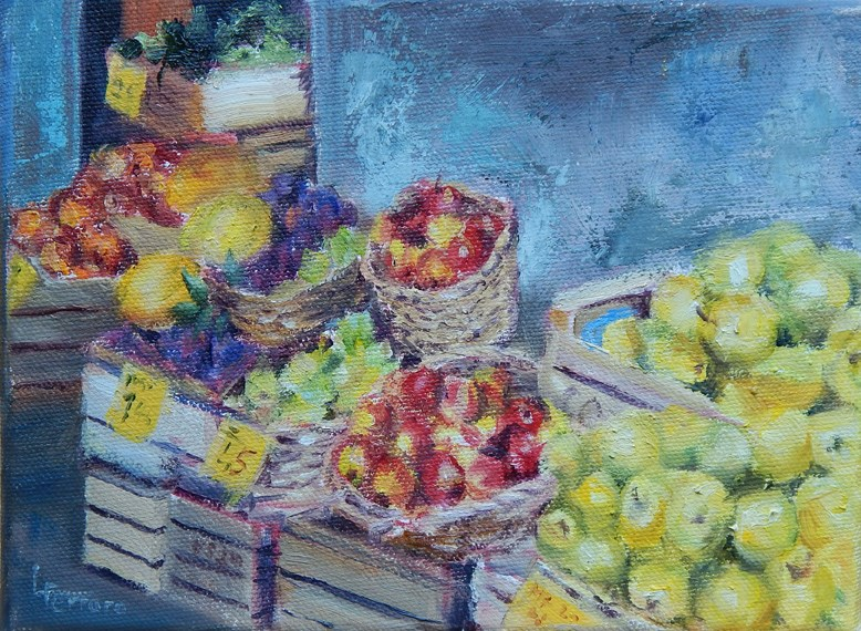 """Fruit Market"" original fine art by Lina Ferrara"