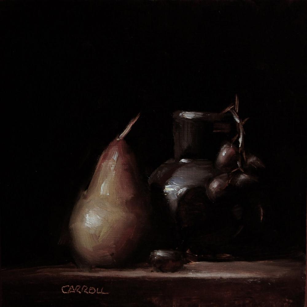"""Pear with Glass Jar"" original fine art by Neil Carroll"