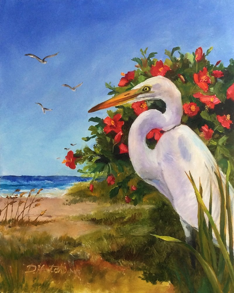 """Egret and Hibiscus"" original fine art by Diane Hutchinson"