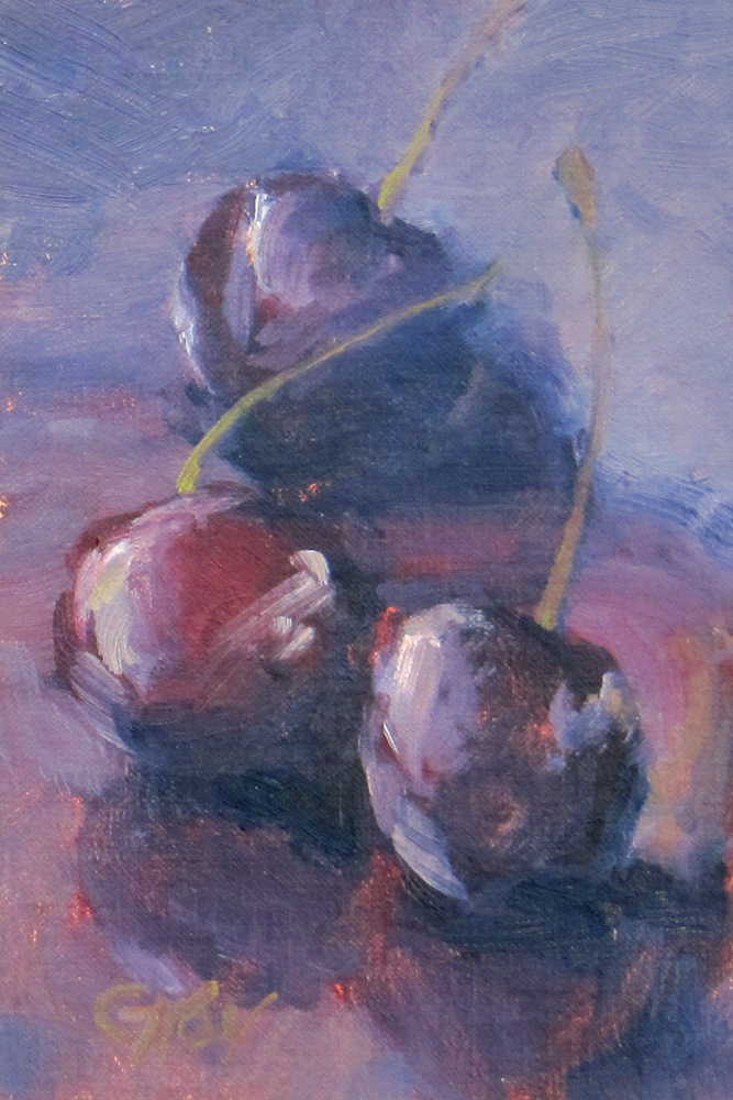"""Three Cherries"" original fine art by Naomi Gray"