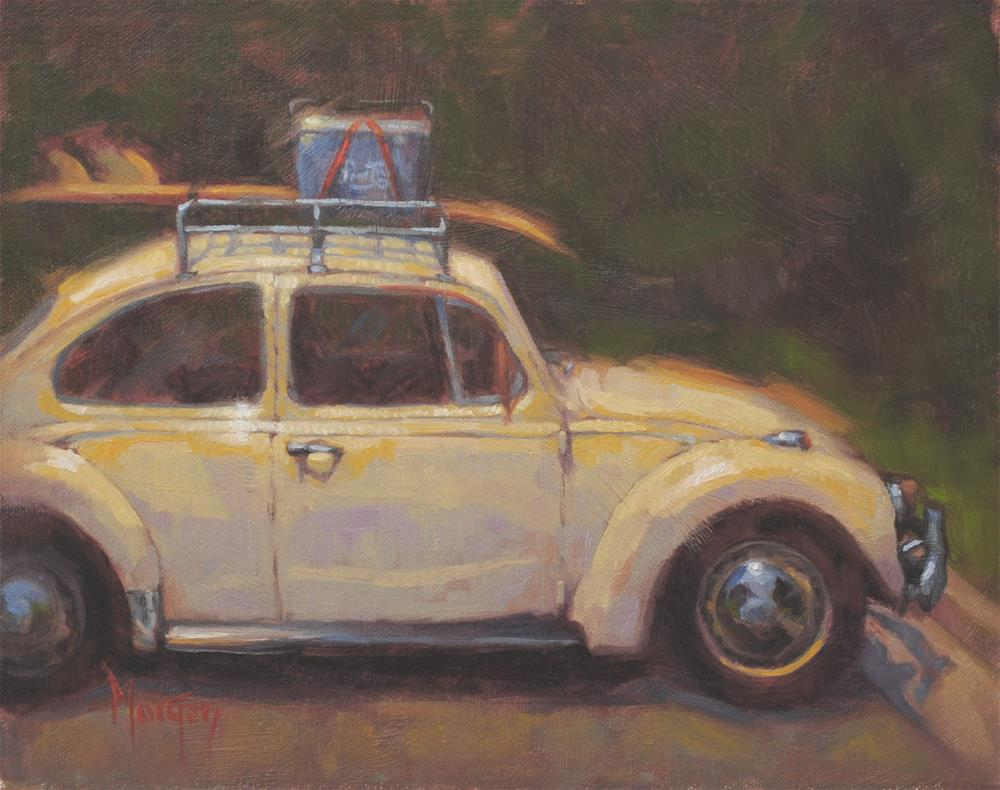 """Vintage Beetle #3"" original fine art by Cecile W. Morgan"