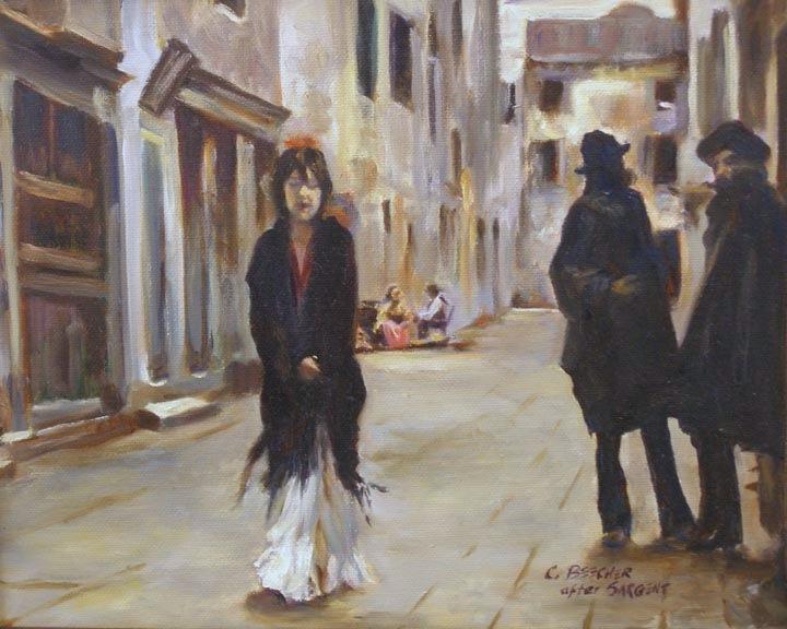 """""""Street in Venice, 8x10 after John Singer Sargent"""" original fine art by Carmen Beecher"""