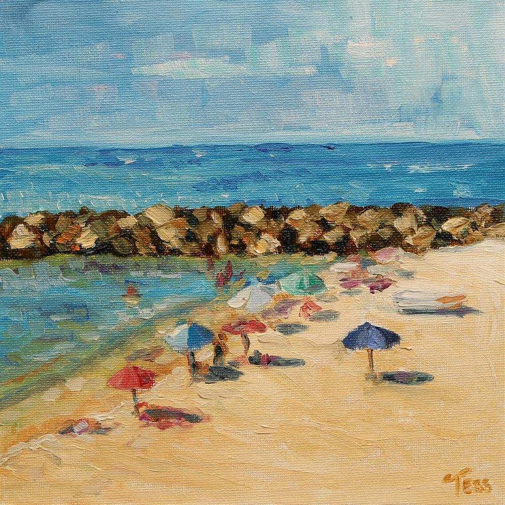 """Beach Umbrellas Challenge"" original fine art by Tess Lehman"