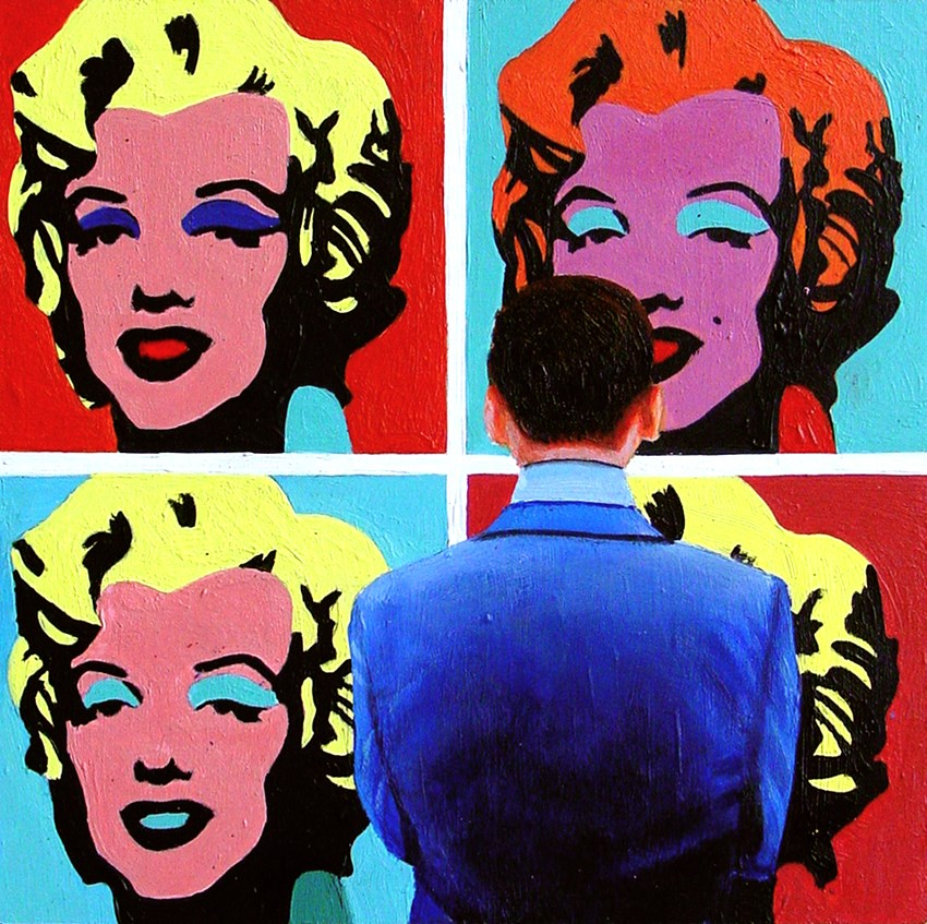 """Four Marilyns- Painting Of Man Enjoying Painting Of Marilyn Monroe By Andy Warhol"" original fine art by Gerard Boersma"