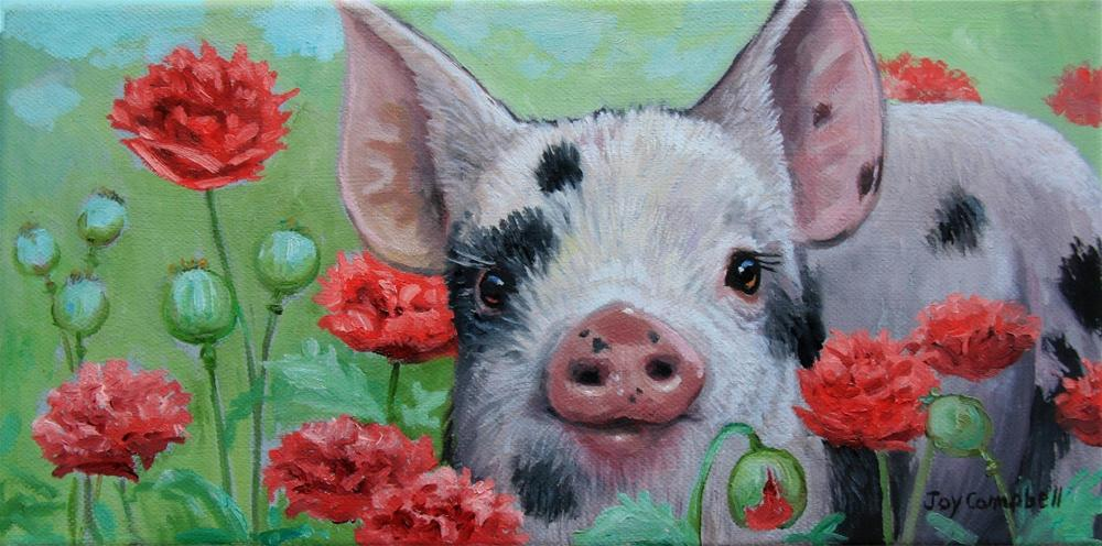 """Poppie Piggie"" original fine art by Joy Campbell"