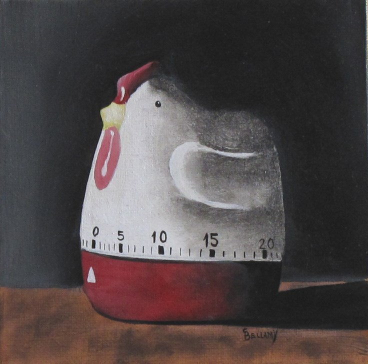 """""""Vintage Chicken Kitchen Timer"""" original fine art by Sherry Bellamy"""