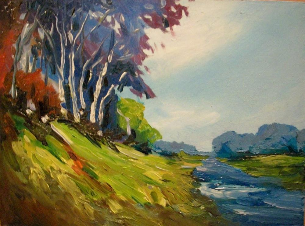 """RIVER BIRCHES"" original fine art by Doug Carter"