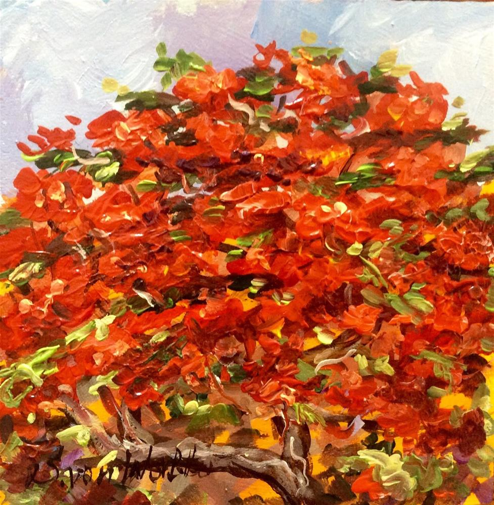 """Bermuda Poinciana Tree Painting"" original fine art by Sonia von Walter"